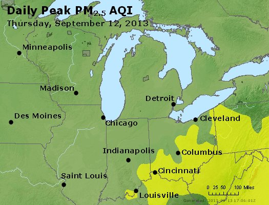 Peak Particles PM<sub>2.5</sub> (24-hour) - http://files.airnowtech.org/airnow/2013/20130912/peak_pm25_mi_in_oh.jpg