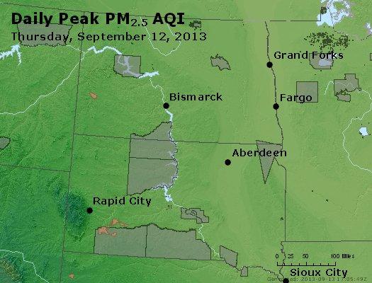 Peak Particles PM<sub>2.5</sub> (24-hour) - http://files.airnowtech.org/airnow/2013/20130912/peak_pm25_nd_sd.jpg