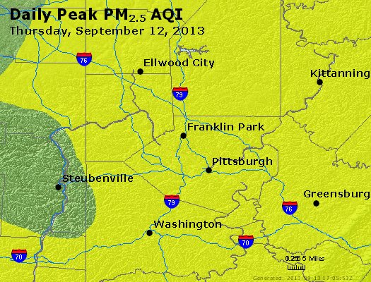 Peak Particles PM<sub>2.5</sub> (24-hour) - http://files.airnowtech.org/airnow/2013/20130912/peak_pm25_pittsburgh_pa.jpg