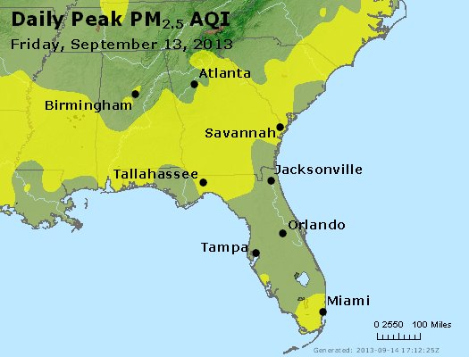 Peak Particles PM<sub>2.5</sub> (24-hour) - http://files.airnowtech.org/airnow/2013/20130913/peak_pm25_al_ga_fl.jpg