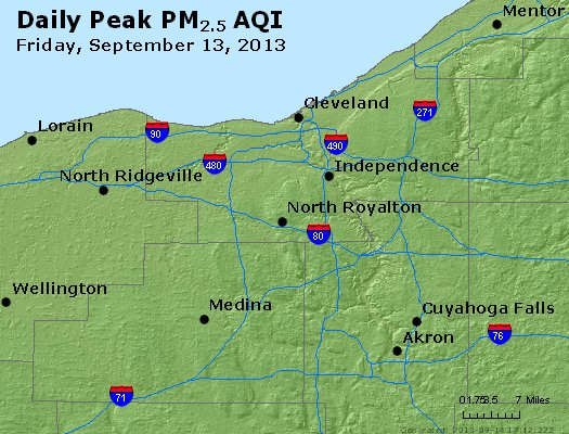 Peak Particles PM<sub>2.5</sub> (24-hour) - http://files.airnowtech.org/airnow/2013/20130913/peak_pm25_cleveland_oh.jpg
