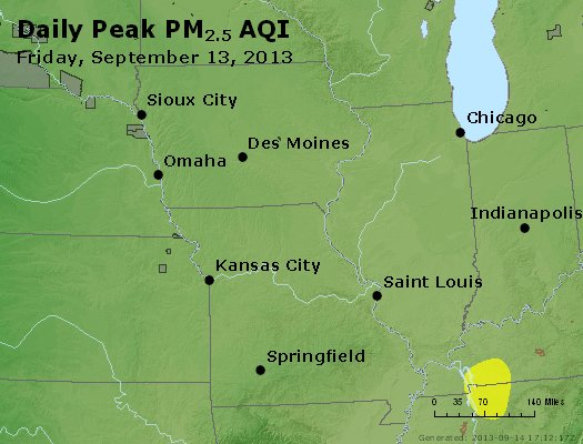 Peak Particles PM<sub>2.5</sub> (24-hour) - http://files.airnowtech.org/airnow/2013/20130913/peak_pm25_ia_il_mo.jpg