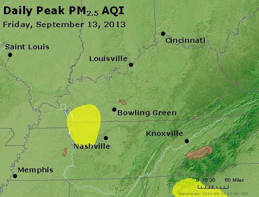 Peak Particles PM<sub>2.5</sub> (24-hour) - http://files.airnowtech.org/airnow/2013/20130913/peak_pm25_ky_tn.jpg