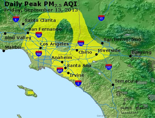 Peak Particles PM<sub>2.5</sub> (24-hour) - http://files.airnowtech.org/airnow/2013/20130913/peak_pm25_losangeles_ca.jpg