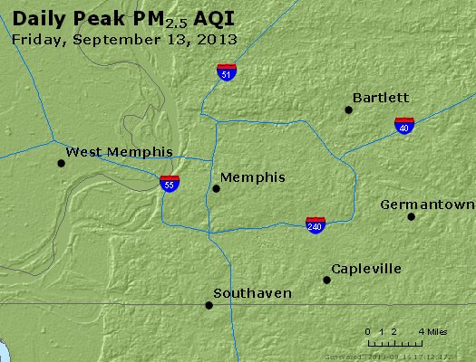 Peak Particles PM<sub>2.5</sub> (24-hour) - http://files.airnowtech.org/airnow/2013/20130913/peak_pm25_memphis_tn.jpg