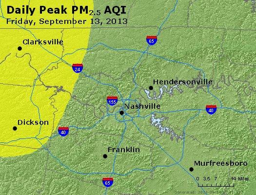 Peak Particles PM<sub>2.5</sub> (24-hour) - http://files.airnowtech.org/airnow/2013/20130913/peak_pm25_nashville_tn.jpg