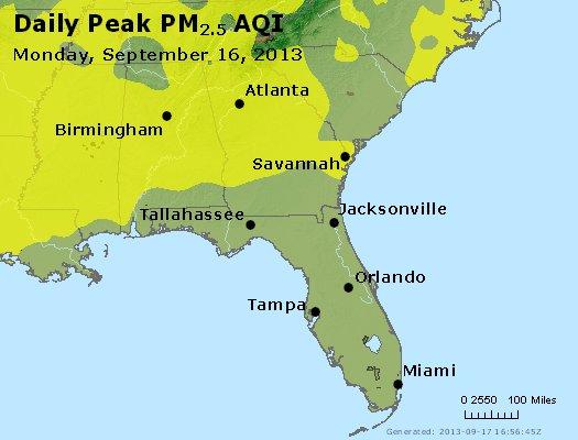 Peak Particles PM<sub>2.5</sub> (24-hour) - http://files.airnowtech.org/airnow/2013/20130916/peak_pm25_al_ga_fl.jpg