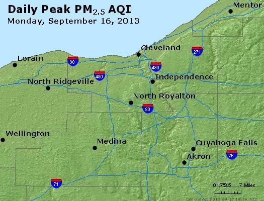 Peak Particles PM<sub>2.5</sub> (24-hour) - http://files.airnowtech.org/airnow/2013/20130916/peak_pm25_cleveland_oh.jpg
