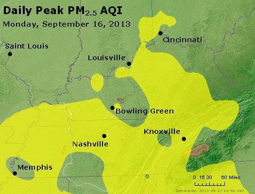 Peak Particles PM<sub>2.5</sub> (24-hour) - http://files.airnowtech.org/airnow/2013/20130916/peak_pm25_ky_tn.jpg