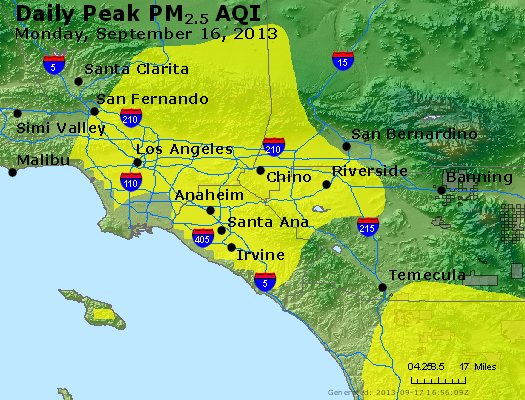 Peak Particles PM<sub>2.5</sub> (24-hour) - http://files.airnowtech.org/airnow/2013/20130916/peak_pm25_losangeles_ca.jpg