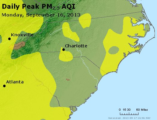Peak Particles PM<sub>2.5</sub> (24-hour) - http://files.airnowtech.org/airnow/2013/20130916/peak_pm25_nc_sc.jpg