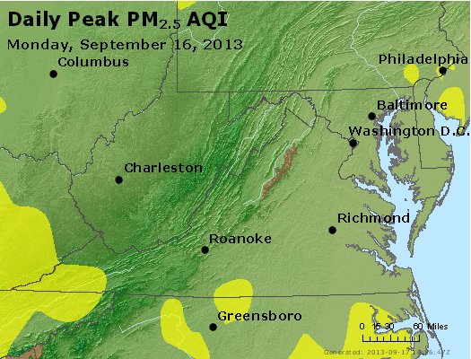 Peak Particles PM<sub>2.5</sub> (24-hour) - http://files.airnowtech.org/airnow/2013/20130916/peak_pm25_va_wv_md_de_dc.jpg