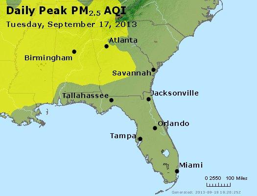 Peak Particles PM<sub>2.5</sub> (24-hour) - http://files.airnowtech.org/airnow/2013/20130917/peak_pm25_al_ga_fl.jpg