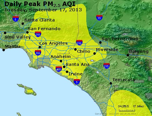 Peak Particles PM<sub>2.5</sub> (24-hour) - http://files.airnowtech.org/airnow/2013/20130917/peak_pm25_losangeles_ca.jpg