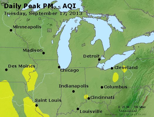 Peak Particles PM<sub>2.5</sub> (24-hour) - http://files.airnowtech.org/airnow/2013/20130917/peak_pm25_mi_in_oh.jpg