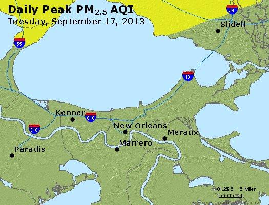 Peak Particles PM<sub>2.5</sub> (24-hour) - http://files.airnowtech.org/airnow/2013/20130917/peak_pm25_neworleans_la.jpg