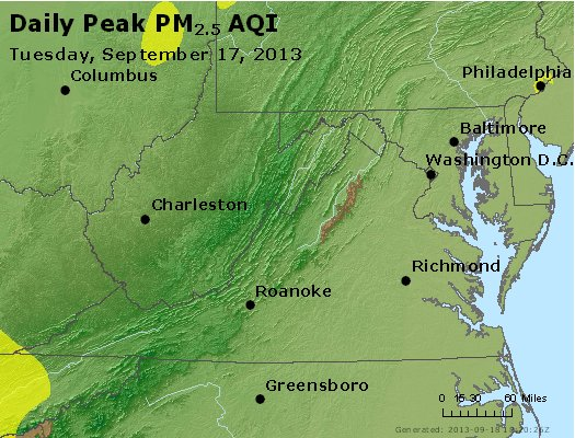 Peak Particles PM<sub>2.5</sub> (24-hour) - http://files.airnowtech.org/airnow/2013/20130917/peak_pm25_va_wv_md_de_dc.jpg
