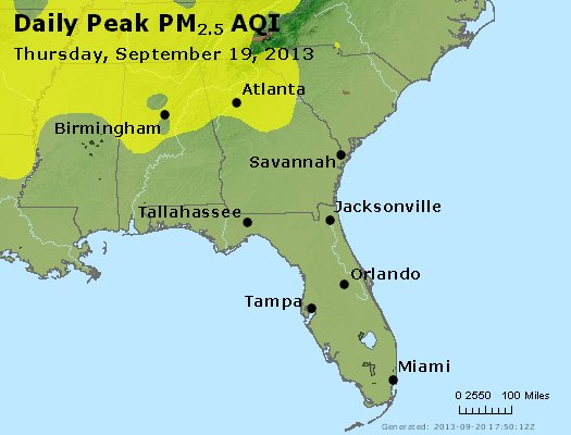 Peak Particles PM<sub>2.5</sub> (24-hour) - http://files.airnowtech.org/airnow/2013/20130919/peak_pm25_al_ga_fl.jpg