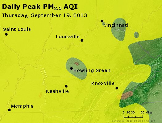 Peak Particles PM<sub>2.5</sub> (24-hour) - http://files.airnowtech.org/airnow/2013/20130919/peak_pm25_ky_tn.jpg