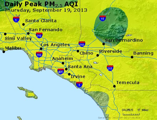 Peak Particles PM<sub>2.5</sub> (24-hour) - http://files.airnowtech.org/airnow/2013/20130919/peak_pm25_losangeles_ca.jpg