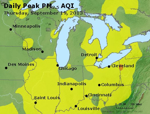 Peak Particles PM<sub>2.5</sub> (24-hour) - http://files.airnowtech.org/airnow/2013/20130919/peak_pm25_mi_in_oh.jpg