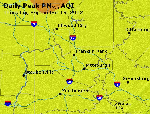 Peak Particles PM<sub>2.5</sub> (24-hour) - http://files.airnowtech.org/airnow/2013/20130919/peak_pm25_pittsburgh_pa.jpg