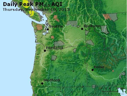 Peak Particles PM<sub>2.5</sub> (24-hour) - http://files.airnowtech.org/airnow/2013/20130919/peak_pm25_wa_or.jpg