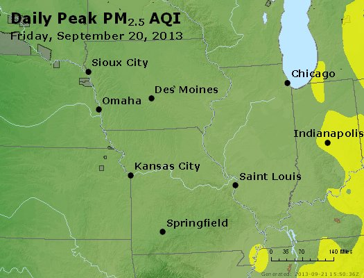 Peak Particles PM<sub>2.5</sub> (24-hour) - http://files.airnowtech.org/airnow/2013/20130920/peak_pm25_ia_il_mo.jpg