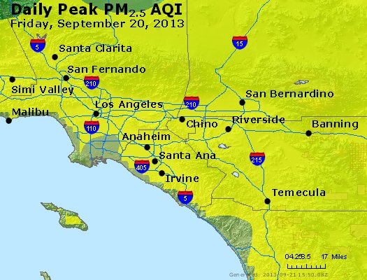 Peak Particles PM<sub>2.5</sub> (24-hour) - http://files.airnowtech.org/airnow/2013/20130920/peak_pm25_losangeles_ca.jpg