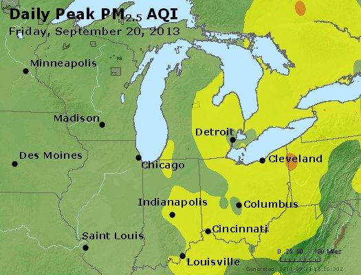 Peak Particles PM<sub>2.5</sub> (24-hour) - http://files.airnowtech.org/airnow/2013/20130920/peak_pm25_mi_in_oh.jpg