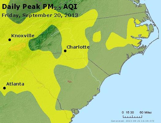 Peak Particles PM<sub>2.5</sub> (24-hour) - http://files.airnowtech.org/airnow/2013/20130920/peak_pm25_nc_sc.jpg
