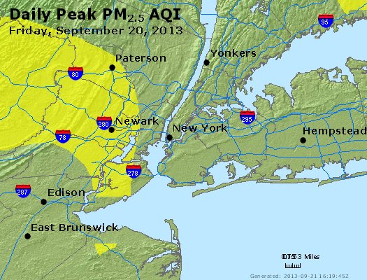 Peak Particles PM<sub>2.5</sub> (24-hour) - http://files.airnowtech.org/airnow/2013/20130920/peak_pm25_newyork_ny.jpg