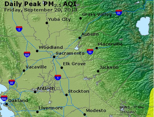 Peak Particles PM<sub>2.5</sub> (24-hour) - http://files.airnowtech.org/airnow/2013/20130920/peak_pm25_sacramento_ca.jpg
