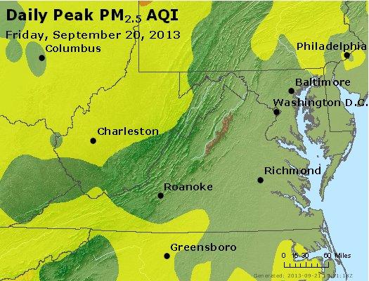 Peak Particles PM<sub>2.5</sub> (24-hour) - http://files.airnowtech.org/airnow/2013/20130920/peak_pm25_va_wv_md_de_dc.jpg
