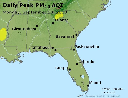Peak Particles PM<sub>2.5</sub> (24-hour) - http://files.airnowtech.org/airnow/2013/20130923/peak_pm25_al_ga_fl.jpg