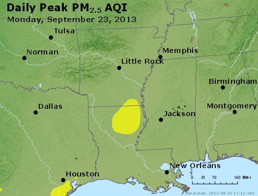 Peak Particles PM<sub>2.5</sub> (24-hour) - http://files.airnowtech.org/airnow/2013/20130923/peak_pm25_ar_la_ms.jpg