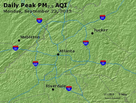Peak Particles PM<sub>2.5</sub> (24-hour) - http://files.airnowtech.org/airnow/2013/20130923/peak_pm25_atlanta_ga.jpg