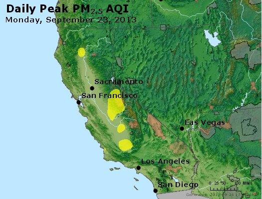 Peak Particles PM<sub>2.5</sub> (24-hour) - http://files.airnowtech.org/airnow/2013/20130923/peak_pm25_ca_nv.jpg
