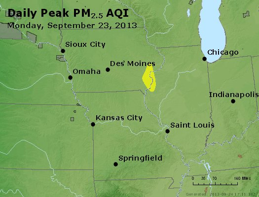 Peak Particles PM<sub>2.5</sub> (24-hour) - http://files.airnowtech.org/airnow/2013/20130923/peak_pm25_ia_il_mo.jpg