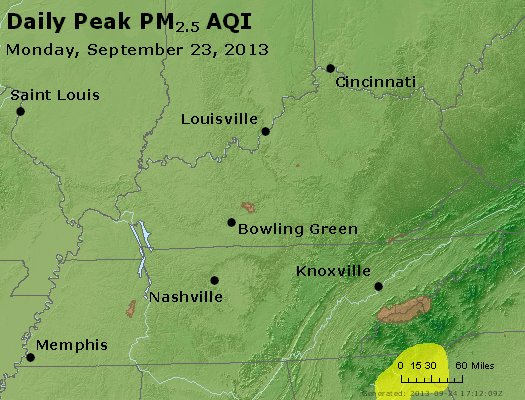 Peak Particles PM<sub>2.5</sub> (24-hour) - http://files.airnowtech.org/airnow/2013/20130923/peak_pm25_ky_tn.jpg