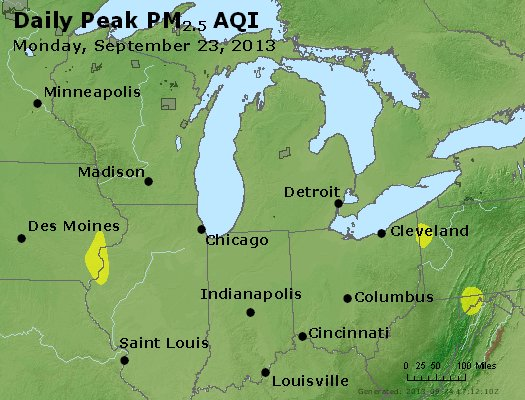 Peak Particles PM<sub>2.5</sub> (24-hour) - http://files.airnowtech.org/airnow/2013/20130923/peak_pm25_mi_in_oh.jpg