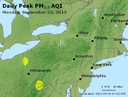 Peak Particles PM<sub>2.5</sub> (24-hour) - http://files.airnowtech.org/airnow/2013/20130923/peak_pm25_ny_pa_nj.jpg