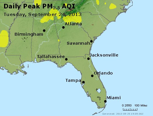 Peak Particles PM<sub>2.5</sub> (24-hour) - http://files.airnowtech.org/airnow/2013/20130924/peak_pm25_al_ga_fl.jpg
