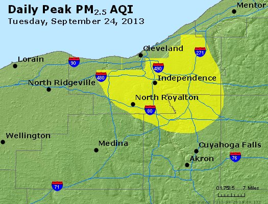Peak Particles PM<sub>2.5</sub> (24-hour) - http://files.airnowtech.org/airnow/2013/20130924/peak_pm25_cleveland_oh.jpg