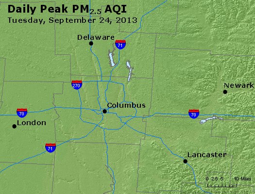 Peak Particles PM<sub>2.5</sub> (24-hour) - http://files.airnowtech.org/airnow/2013/20130924/peak_pm25_columbus_oh.jpg