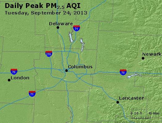 Peak Particles PM<sub>2.5</sub> (24-hour) - http://files.airnowtech.org/airnow/2013/20130924/peak_pm25_columbus_oh.jpg