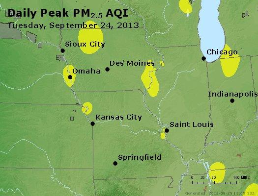 Peak Particles PM<sub>2.5</sub> (24-hour) - http://files.airnowtech.org/airnow/2013/20130924/peak_pm25_ia_il_mo.jpg