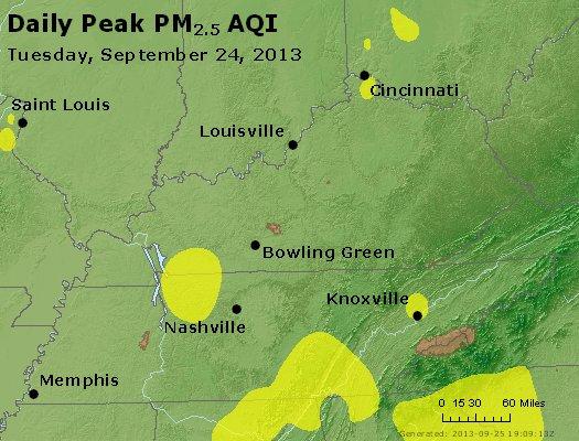 Peak Particles PM<sub>2.5</sub> (24-hour) - http://files.airnowtech.org/airnow/2013/20130924/peak_pm25_ky_tn.jpg