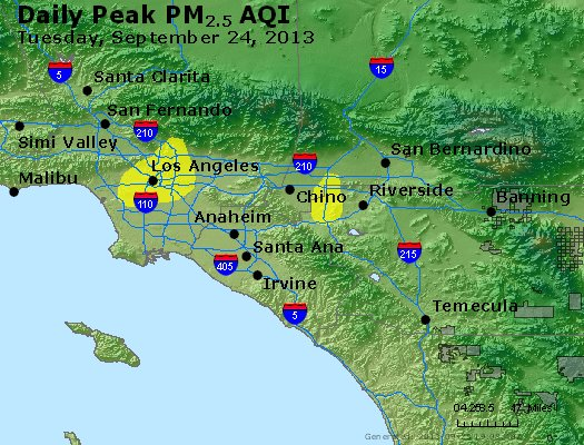 Peak Particles PM<sub>2.5</sub> (24-hour) - http://files.airnowtech.org/airnow/2013/20130924/peak_pm25_losangeles_ca.jpg