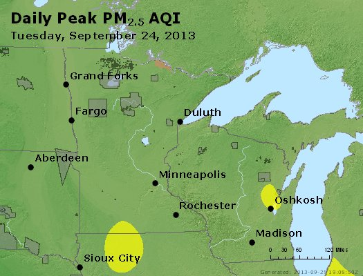 Peak Particles PM<sub>2.5</sub> (24-hour) - http://files.airnowtech.org/airnow/2013/20130924/peak_pm25_mn_wi.jpg